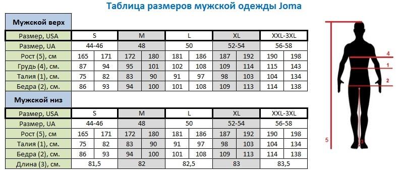 a07ea749 Таблица размеров Joma, Nike, Adidas